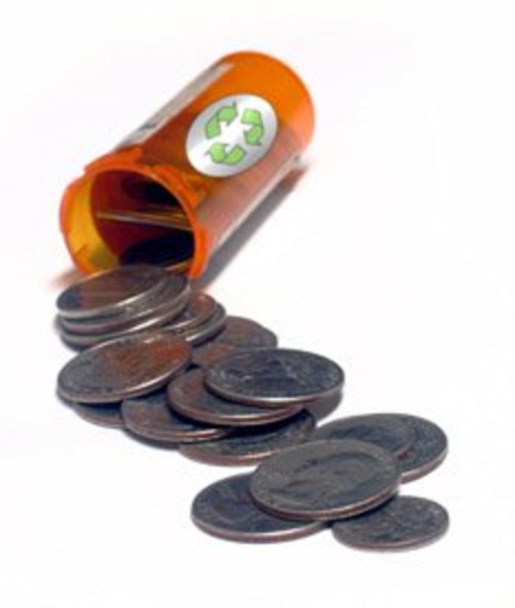 The tall pill bottles can hold up to $10 worth of quarters.