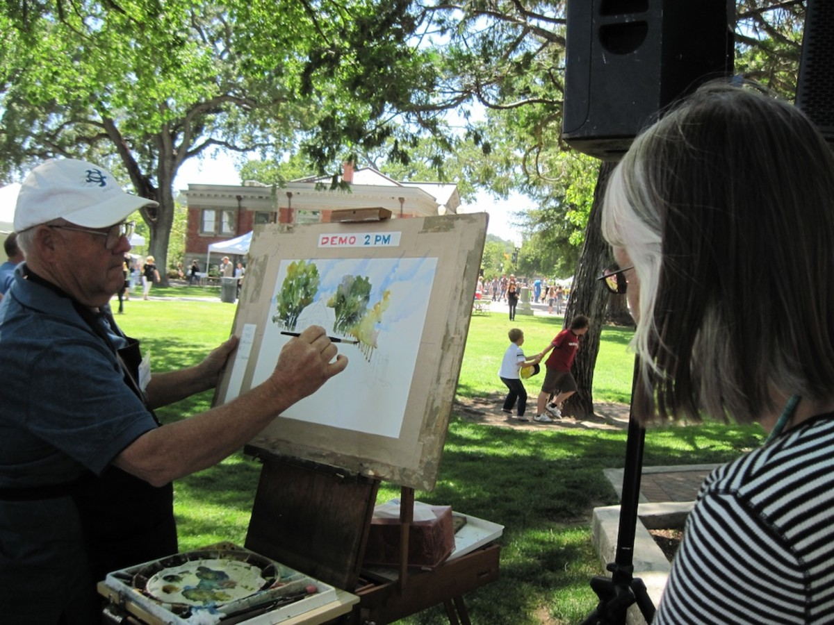 John Partridge gives watercolor painting demonstration at the 2011 Festival of the Arts in Paso Robles, California.