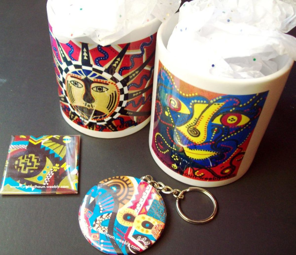 I have uploaded images from my computer to zazzle.com's interface.  Here I have cups, a magnet and a keychain with my personal artwork on it.  It's easy to do and a great way to show off your child's artistic creations.