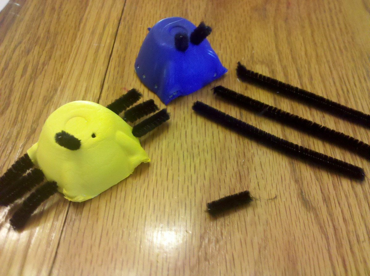 Insert 3 black pipe cleaners in the holes for the legs and 2 shorter black pipe cleaners for the antennas.