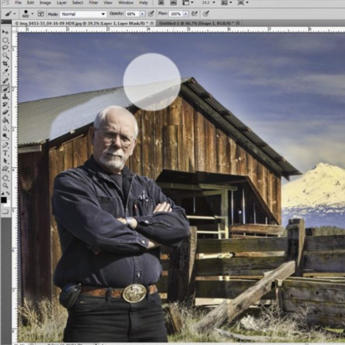 Brush Removing Unwanted Background From Portrait