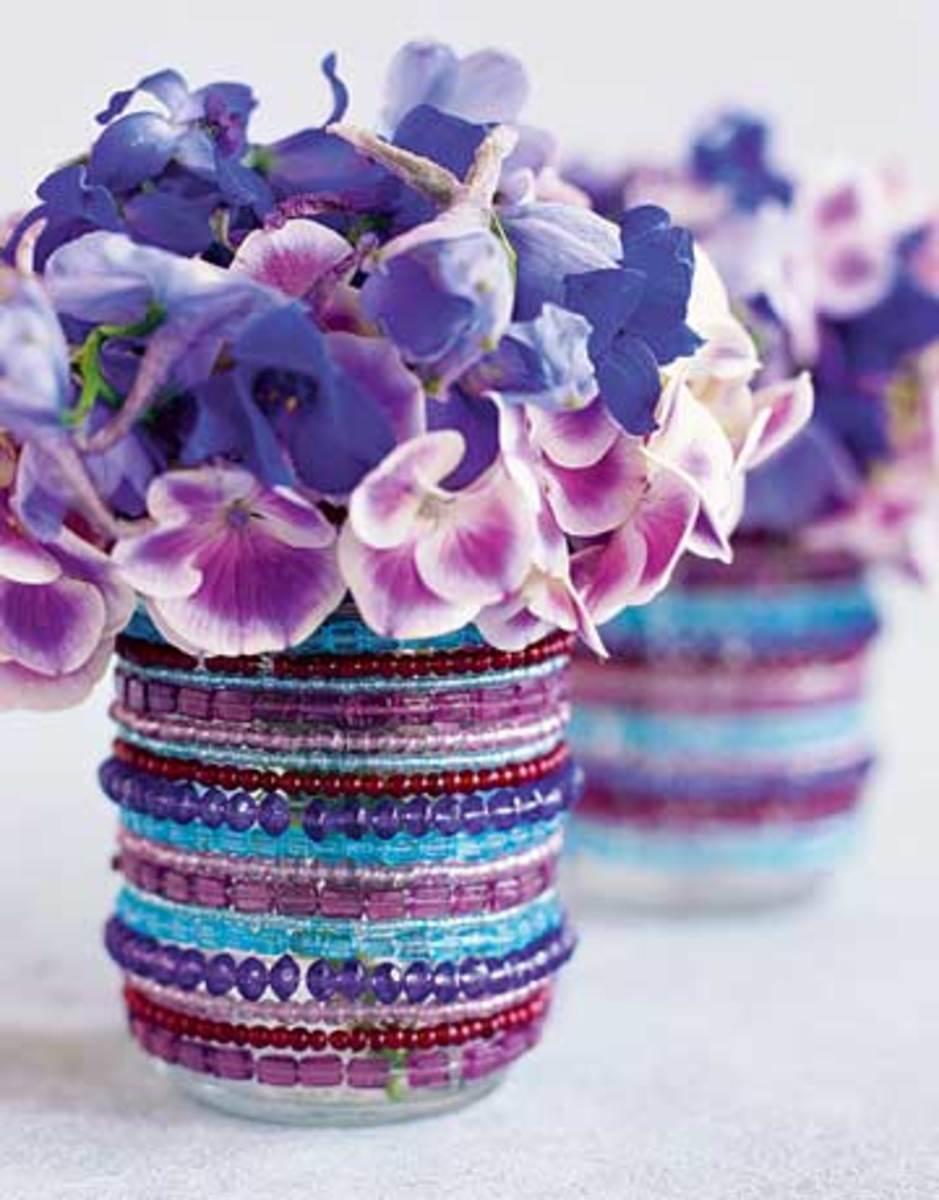 beaded jar vase
