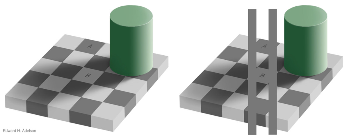 The squares labeled A and B are the same shade of gray.