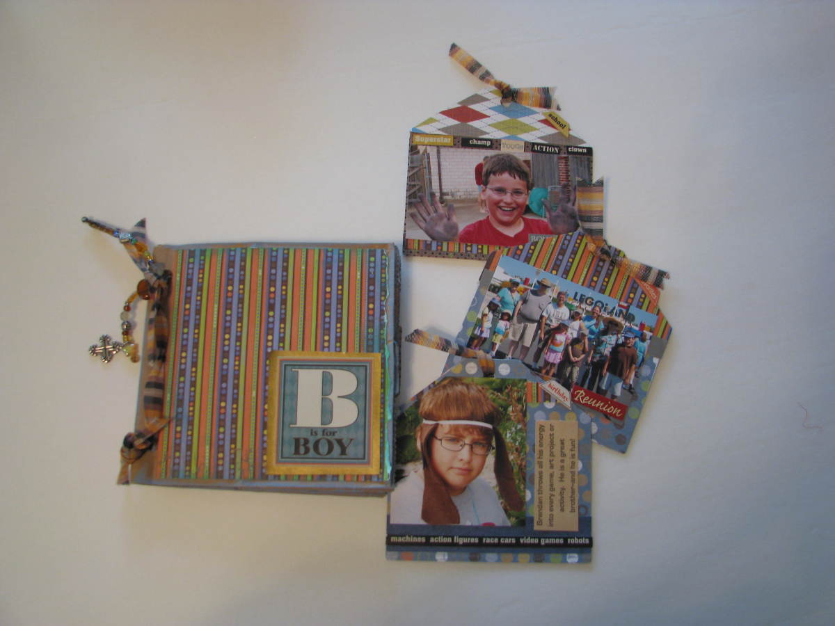 Finished Paper Bag Scrapbook with tags and photos