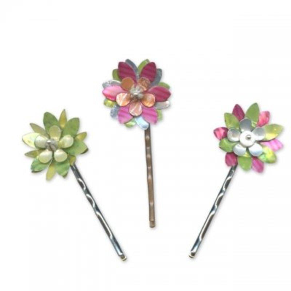 Pop Can Flower Hair Pins