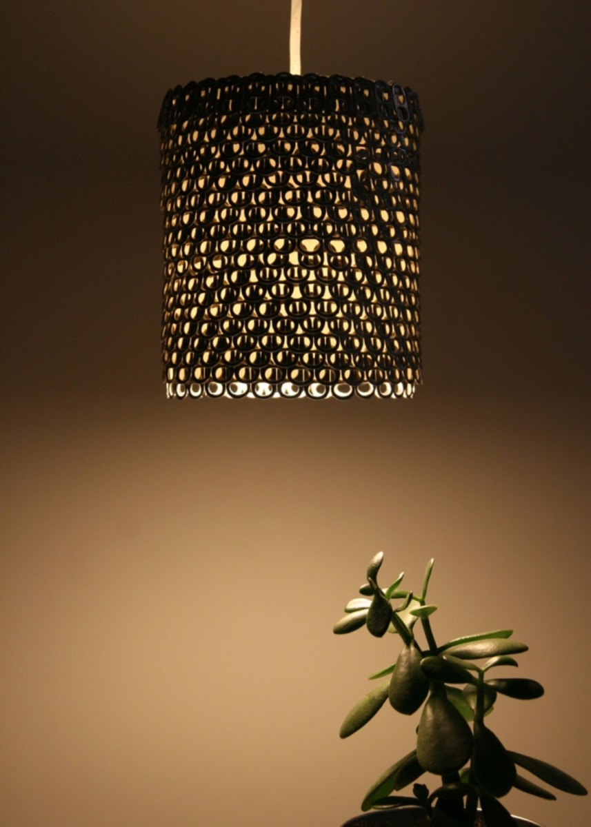 Pendant Light made from Soda Can Tabs