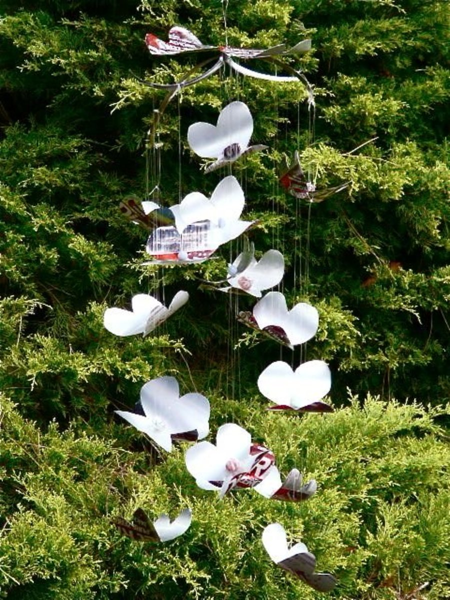 Aluminum Can Butterfly Mobile