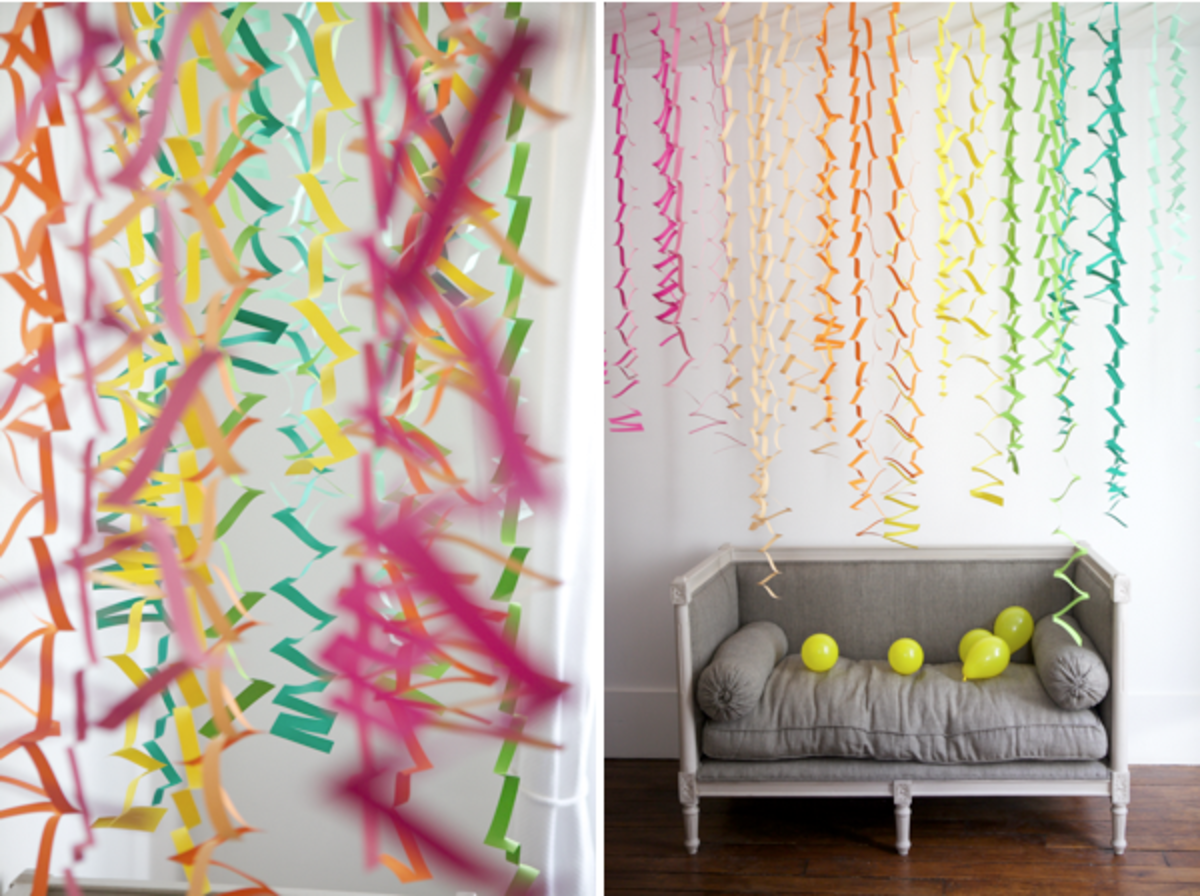 How fun are these! Made by making cuts on alternating sides of a rectangular piece of paper, which means ANYBODY can make these wonderful zig zag party streamers.