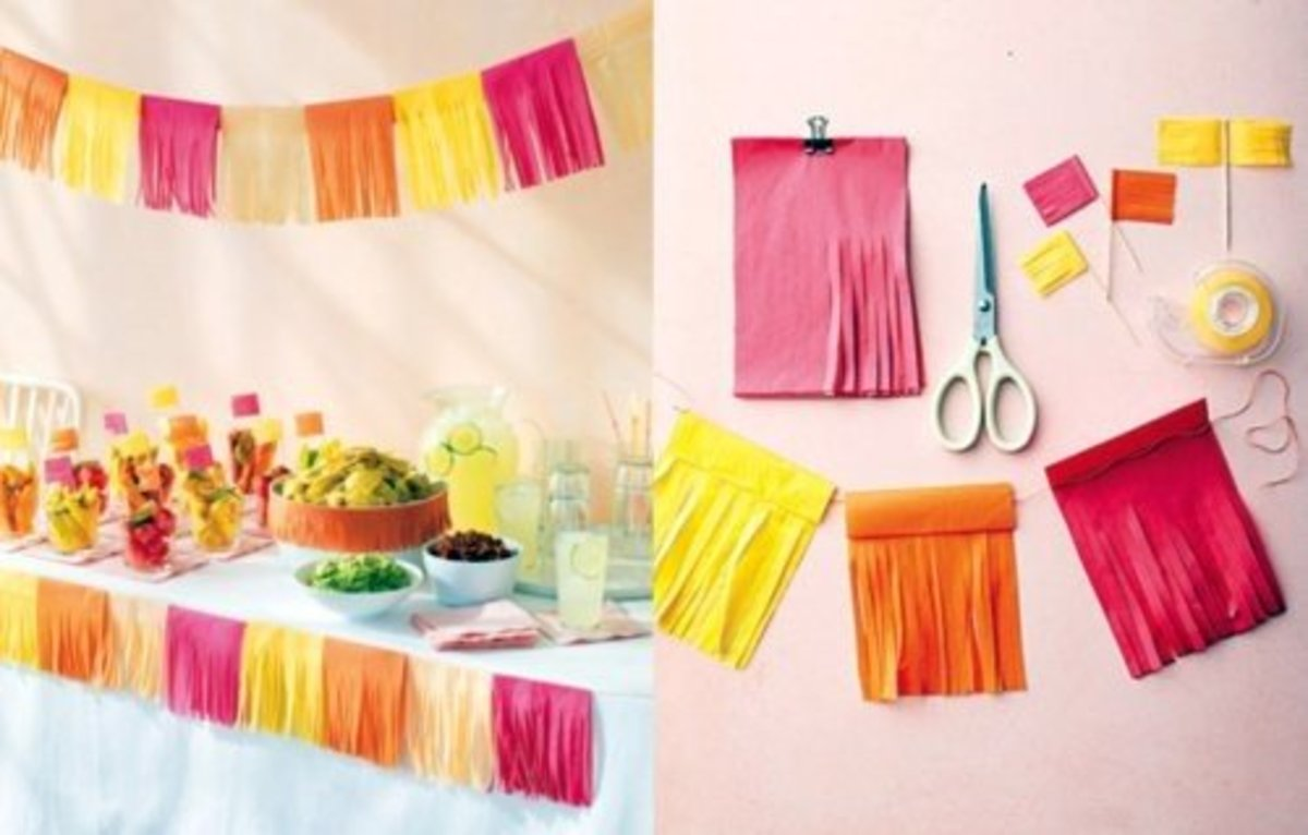 These tissue paper garlands are fringy, fun, and easy. All you need is tissue paper, tape, scissors, and twine.
