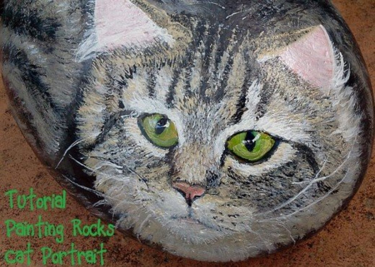 Detailed tutorial for painting a cat on rock.