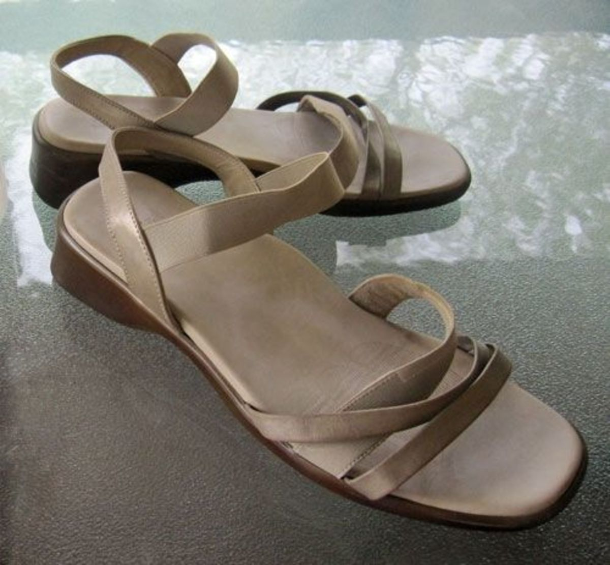 Old beige leather comfort sandals prior to being painted and embellished