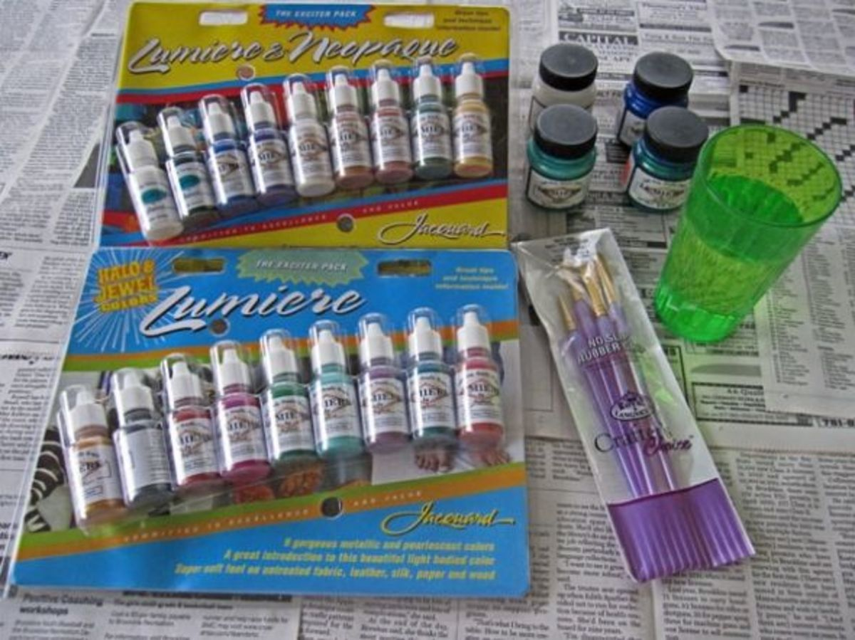 Photo of Jacquard Lumiere and Neopaque acrylic paints and Crafter's Choice brushes.