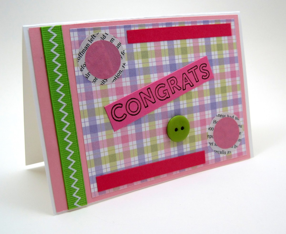 Layered with pink scrapbook paper.