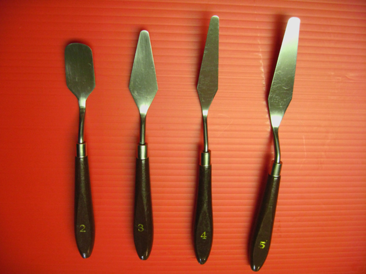 Palette knives can be used for mixing paint or for painting.