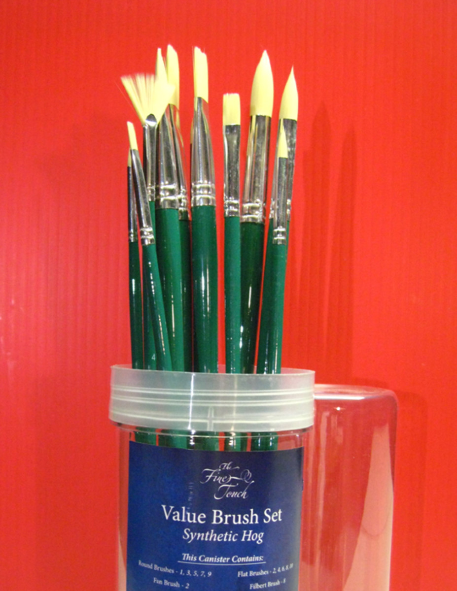 Another example of paint brush set that I have owned for several years now. The handles have peeled off over time, but most of the brushes are still holding their shape. Image is a few years old.