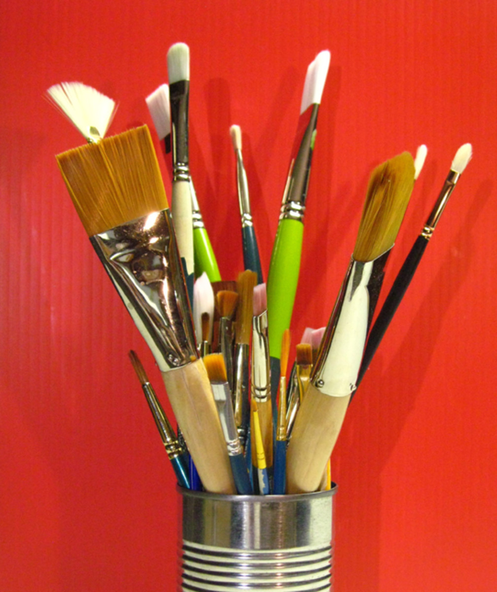 Never store brushes standing on the bristles, or they'll get deformed.