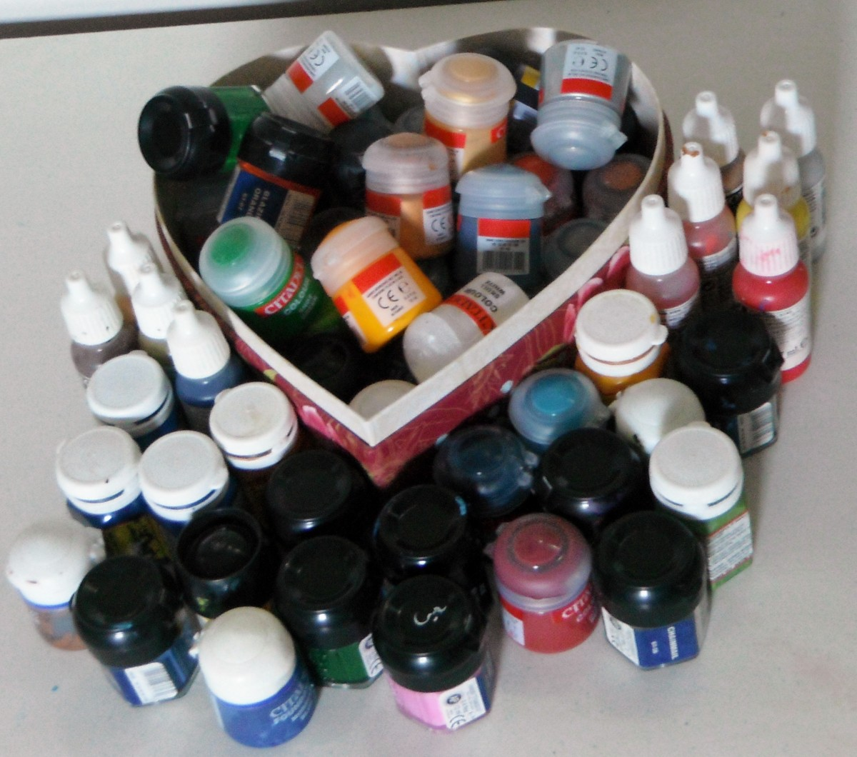 Paints for miniature painting. These are only the paints I use most often, but you don't need this much just to get started.