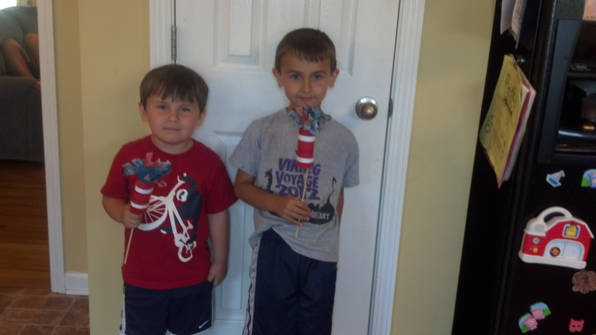 My boys proudly displaying their firecrackers.