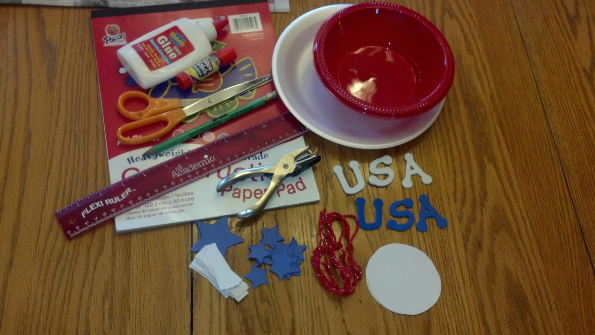 Supplies to make a patriotic hat.