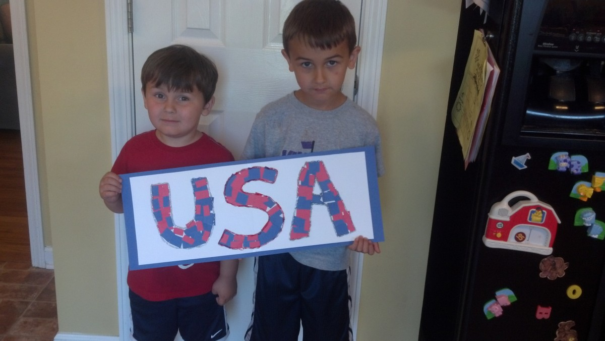 My boys displaying their USA collage.