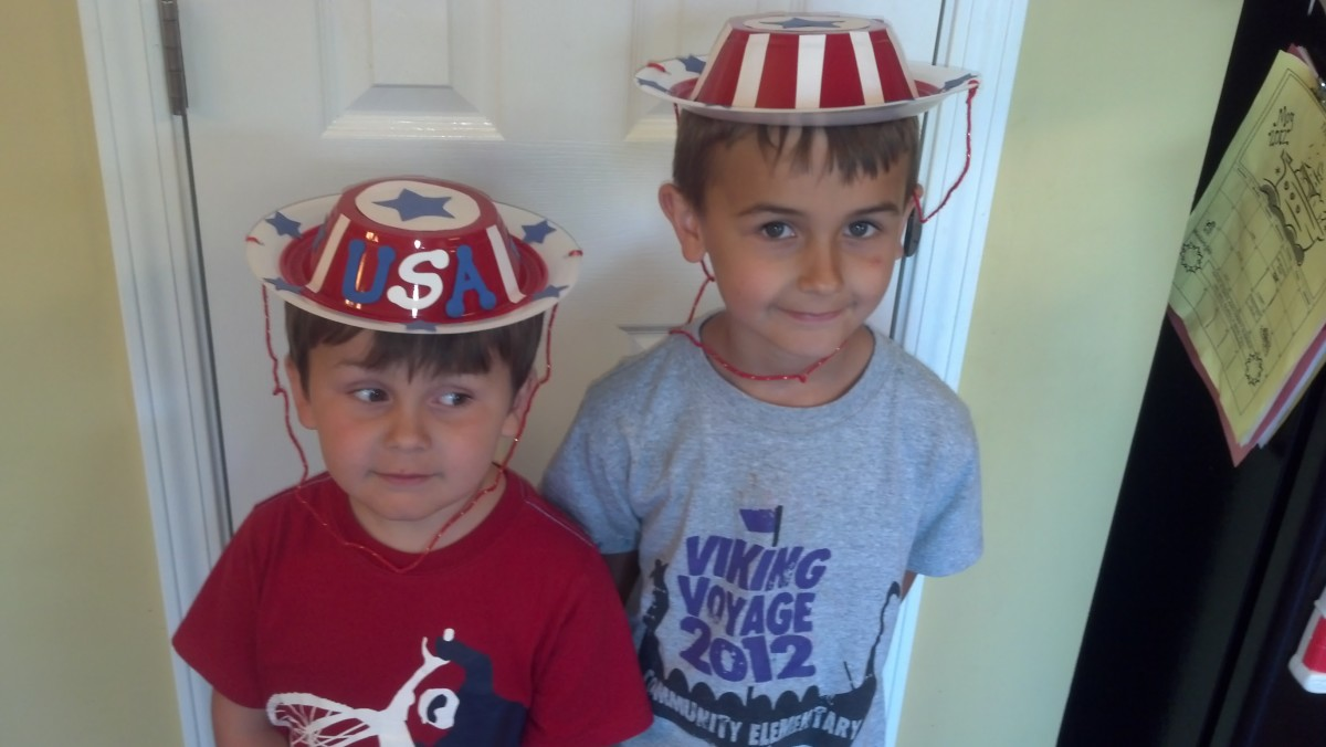 My boys showing off their patriotic hats.