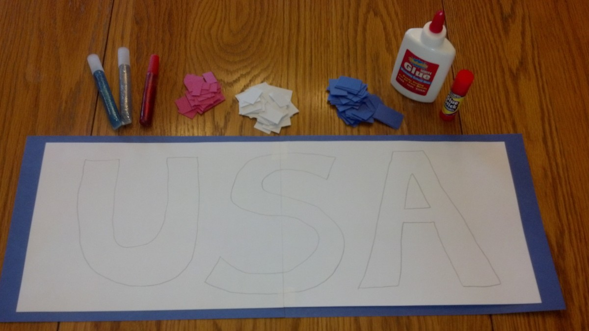 Supplies to make a USA collage.