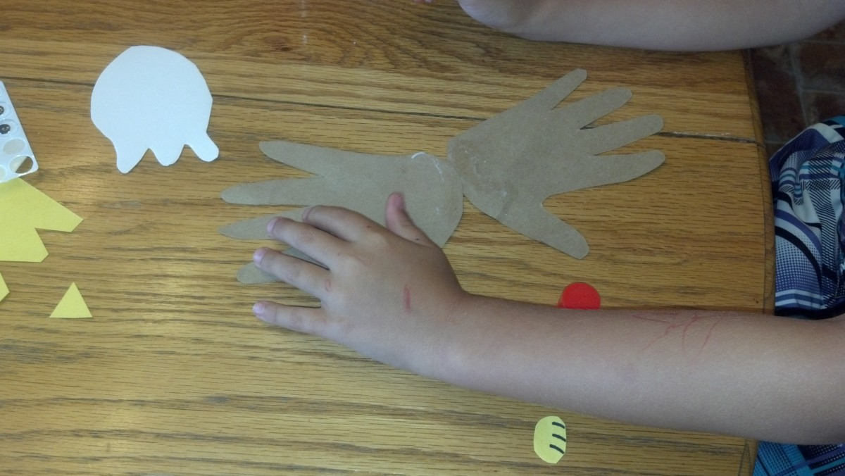 Attach handprints to back of footprint with glue stick.