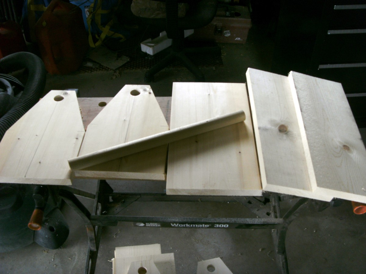 The pieces are all cut, drilled and sanded, ready for assembly.