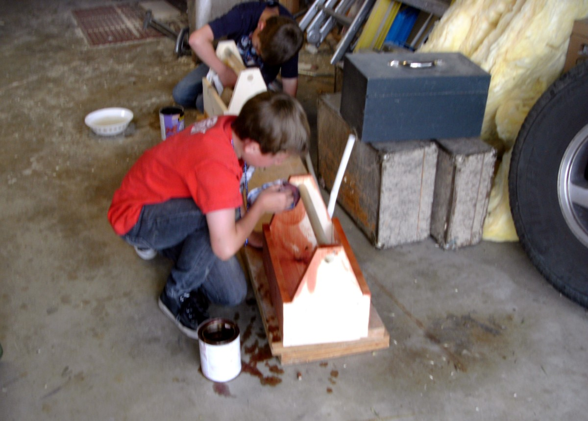 Staining the new toolbox.