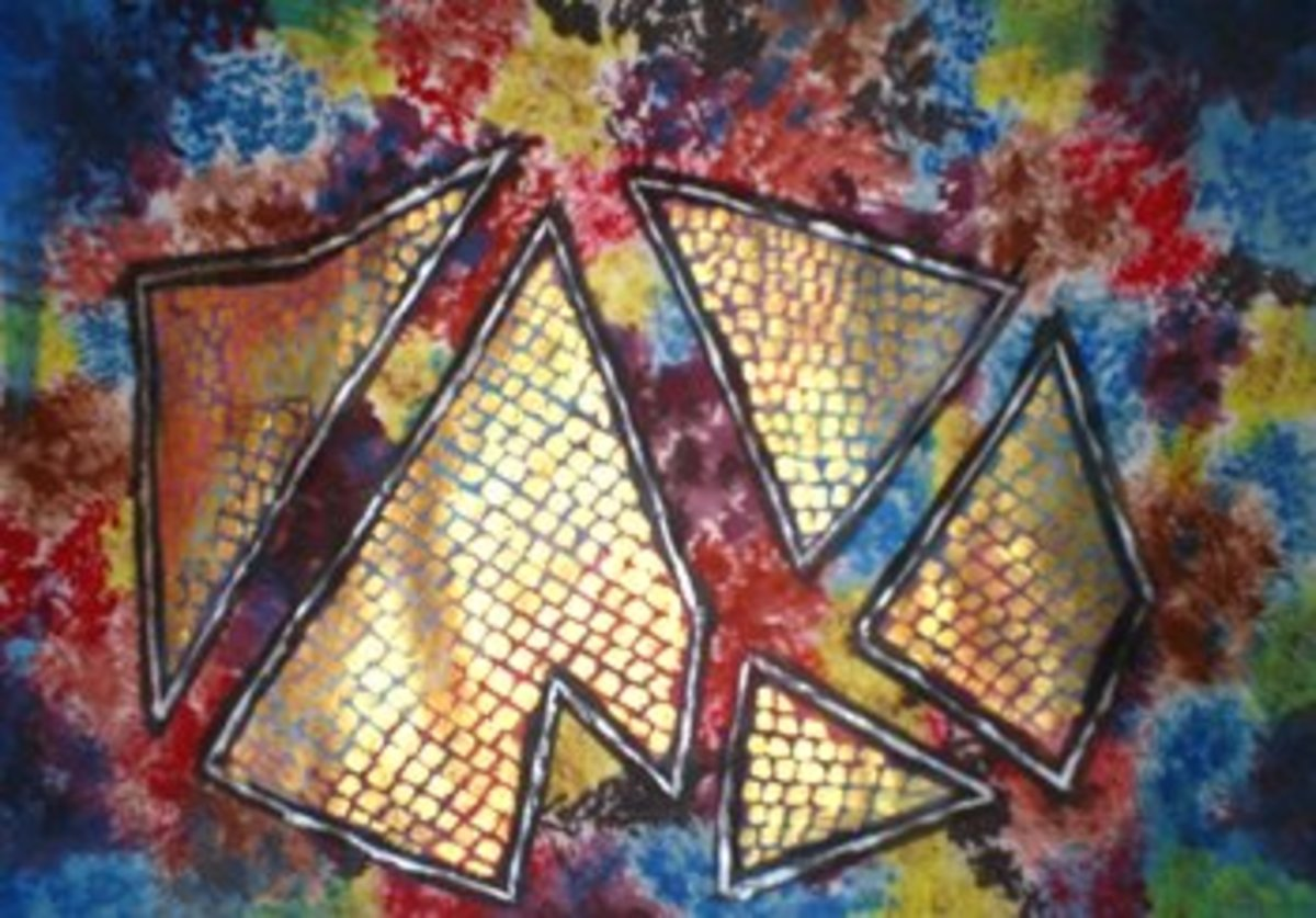 The painting has been completed by adding a dotted metallic texture to those five shapes,complementing the background.