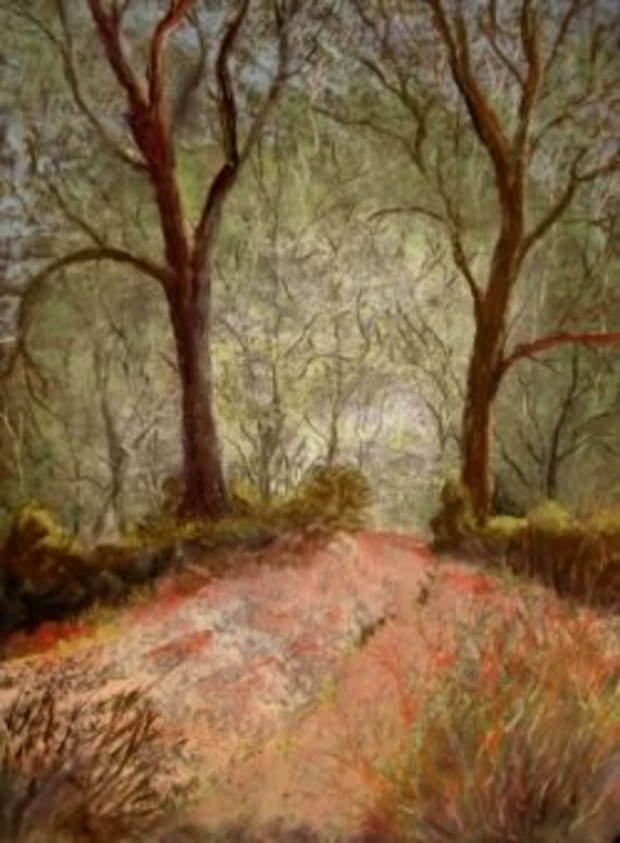trees pastel painting
