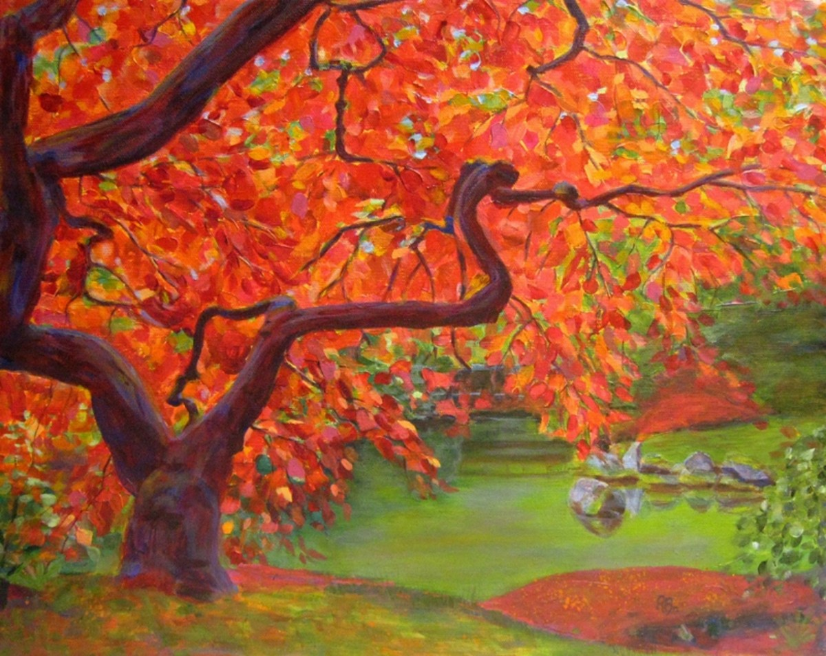 """""""Japanese Maple Tree"""" is an example of a tetradic color scheme. The colors used are two pairs of complementary: red, green, blue, and orange. Red is the main color in the composition."""