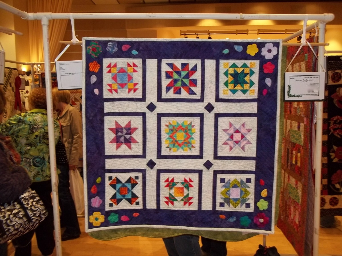 """Summer Fun Sampler"", My original layout using traditional blocks.  Here it is hanging in a juried show."