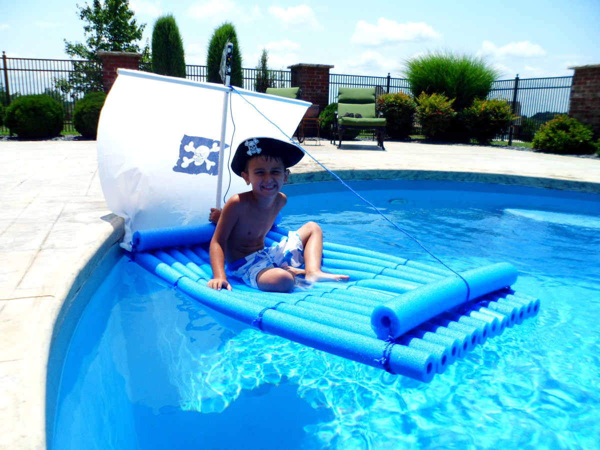 My little matey testing out the pirate raft!