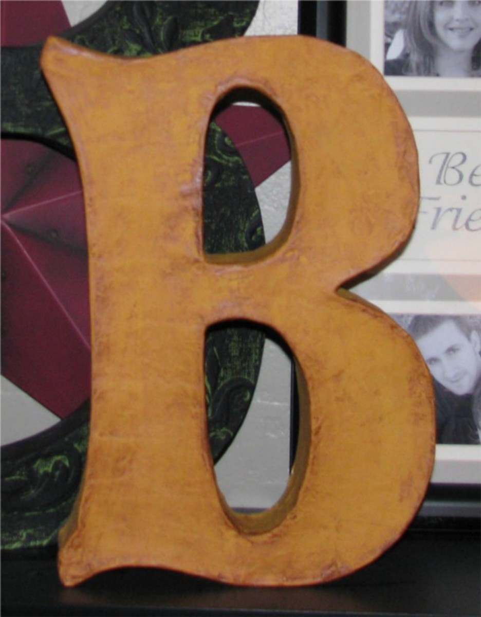 3D paper mache letter made with cereal boxes