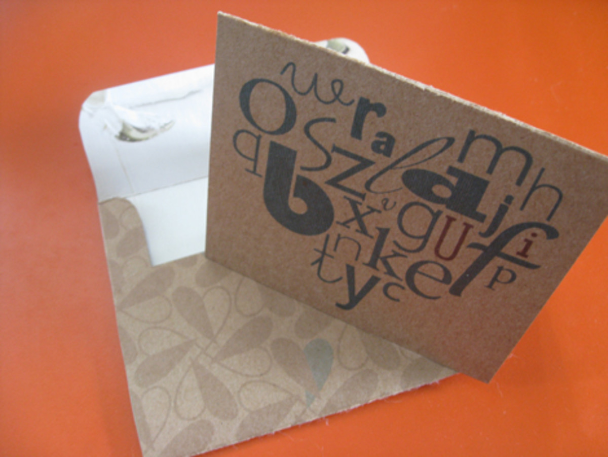 Card made from a cereal box.