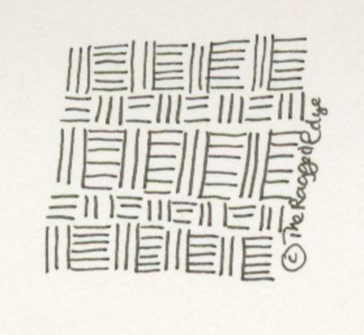 Hessian weave inspired tangle.