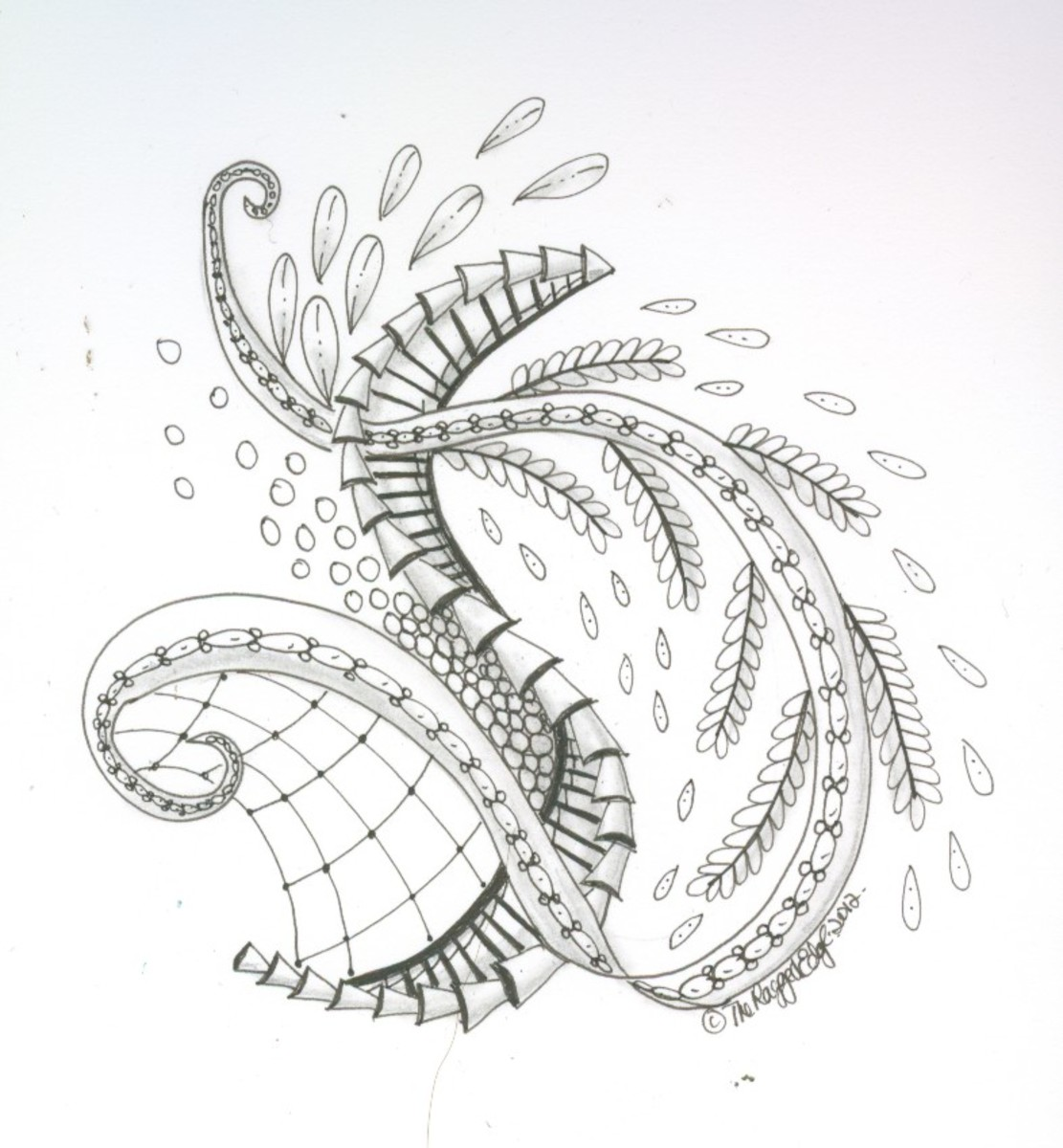Zentangle-inspired pattern using elements of fern, book and tile tangles.