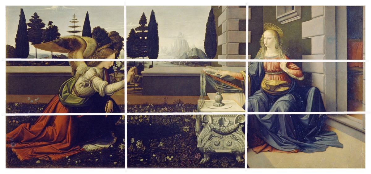 The Announciation by Leonardo Da Vinci - Leonardo was known for using the Golden Rule. The rule of thirds gives very similar results to the classic formila based on Fibonacci numbers.
