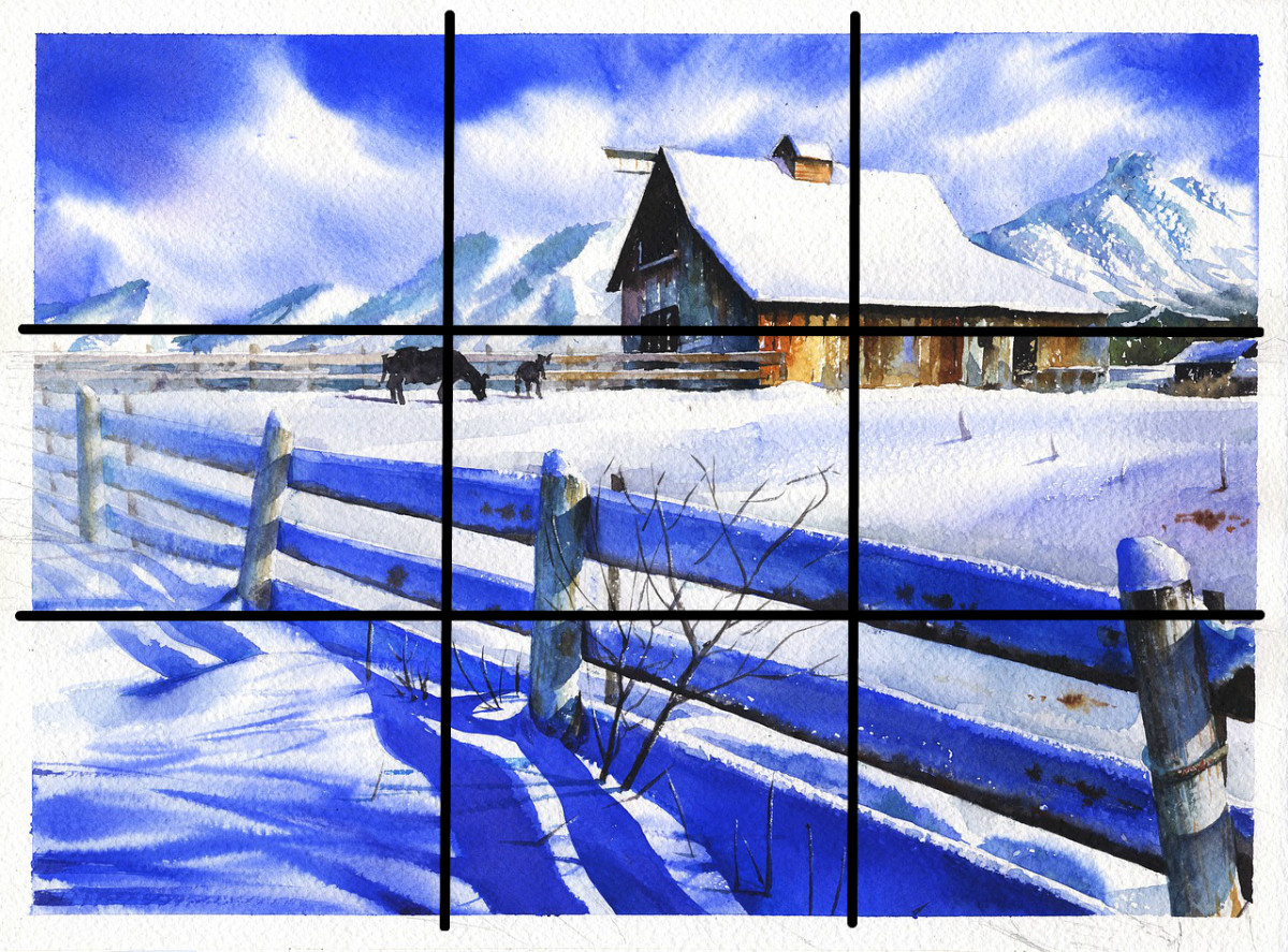 Example of the use of the rule of thirds along with other compositional structures.