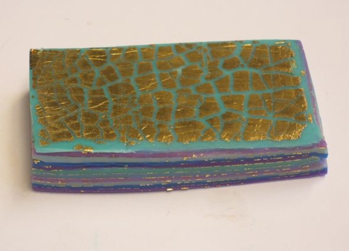 Halved, re-stacked and re-rolled polymer clay mokume gane stack