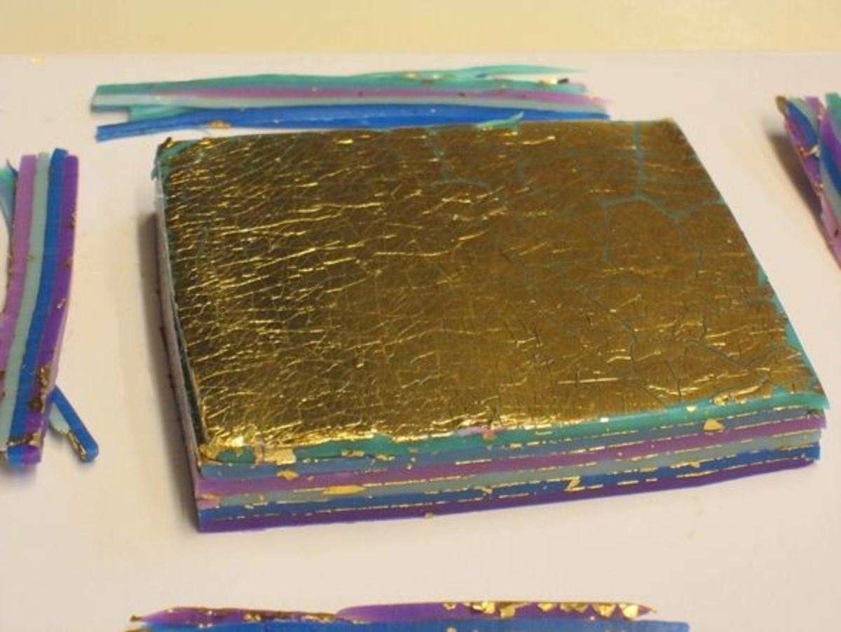 Stacked gold leaf-covered polymer clay sheets