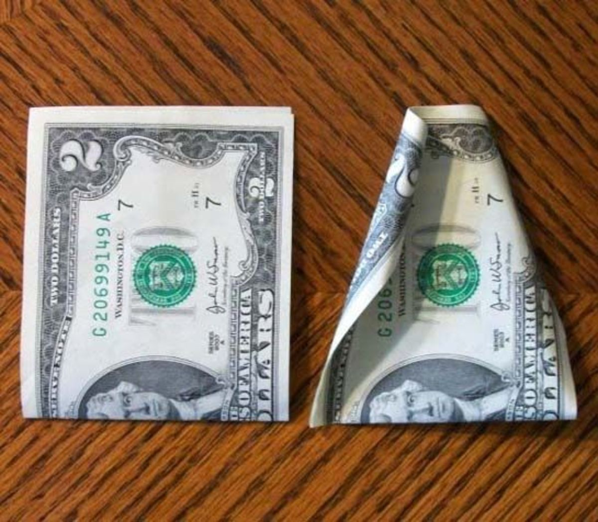 Step #1: Fold the bills in half first as it will make curling the edges easier.