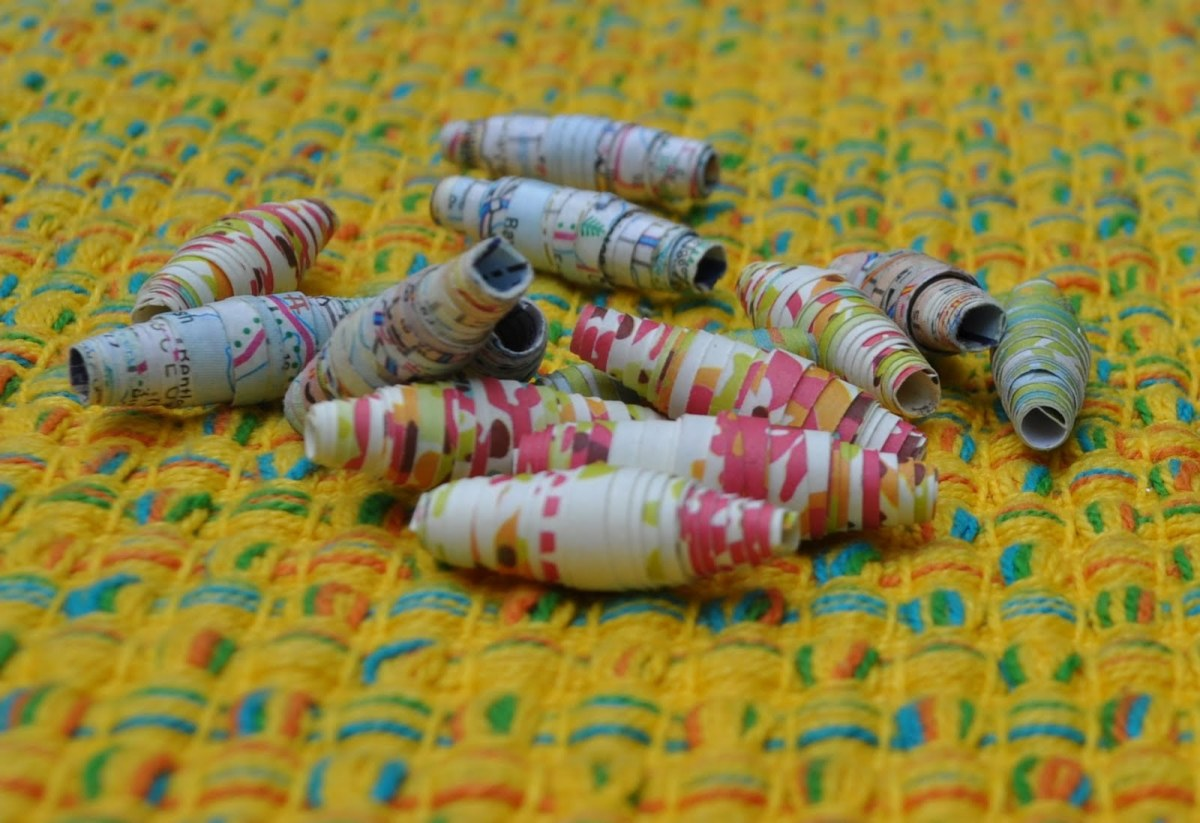 Paper beads made from maps