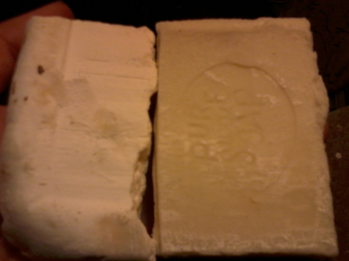 The soap on the left is my standard recipe, uncolored. You can see the subtle difference in the soap on the right, colored with bergamot tea.
