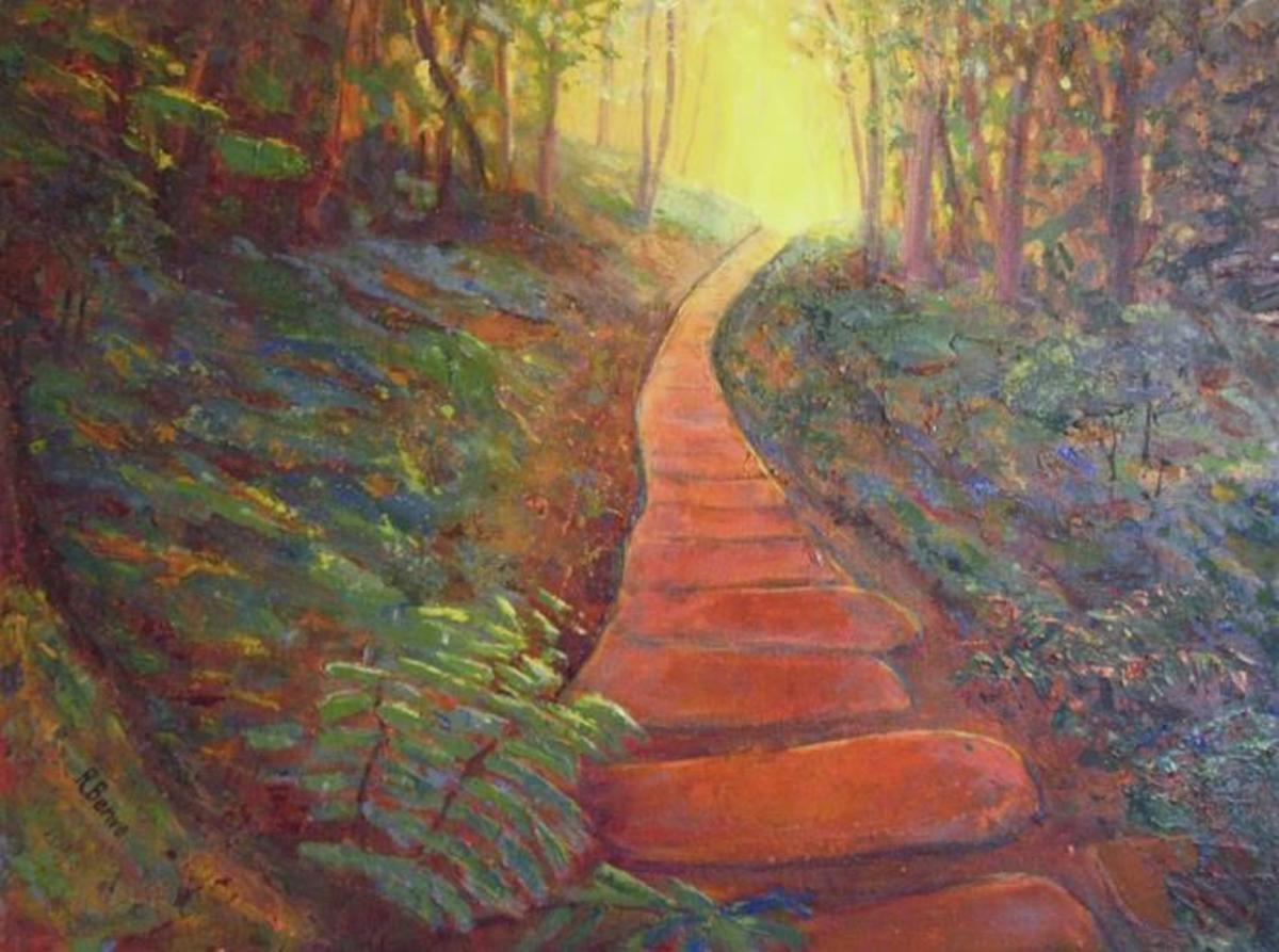 """Towards the Light"" Acrylic on Canvas, by © Robie Benve, all rights reserved."