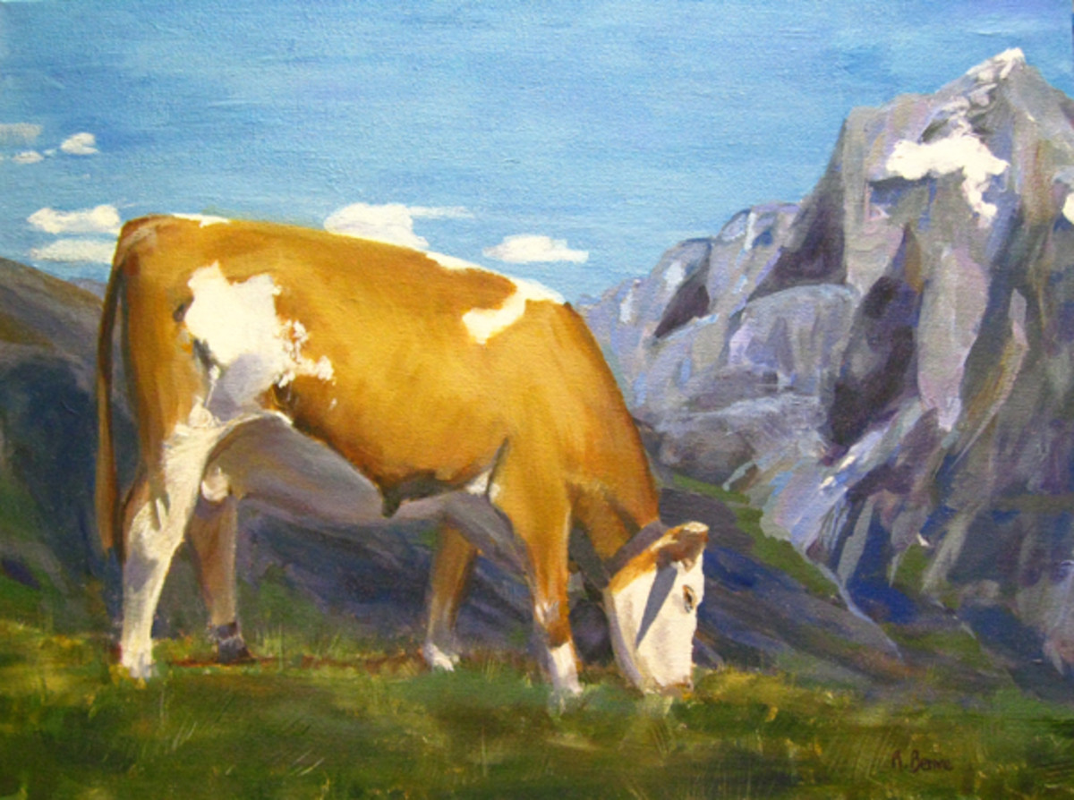 "The final painting, after all the steps finally I added details and highlights. ""High Pastures"", acrylic on canvas by Robie Benve"