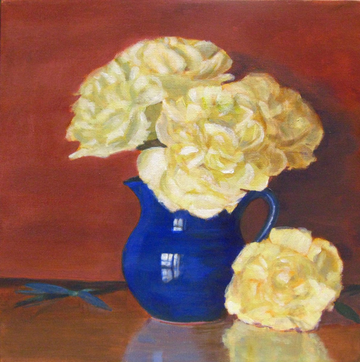 """Rich Peonies"", 10""x10"" Acrylic on Canvas by ©Robie Benve Art, all rights reserved"