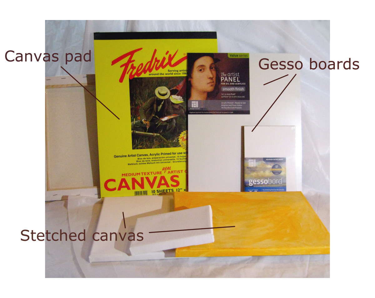 A few examples of painting supports that you can use. Stretched canvas, canvas sheets from a pad, and gesso boards.