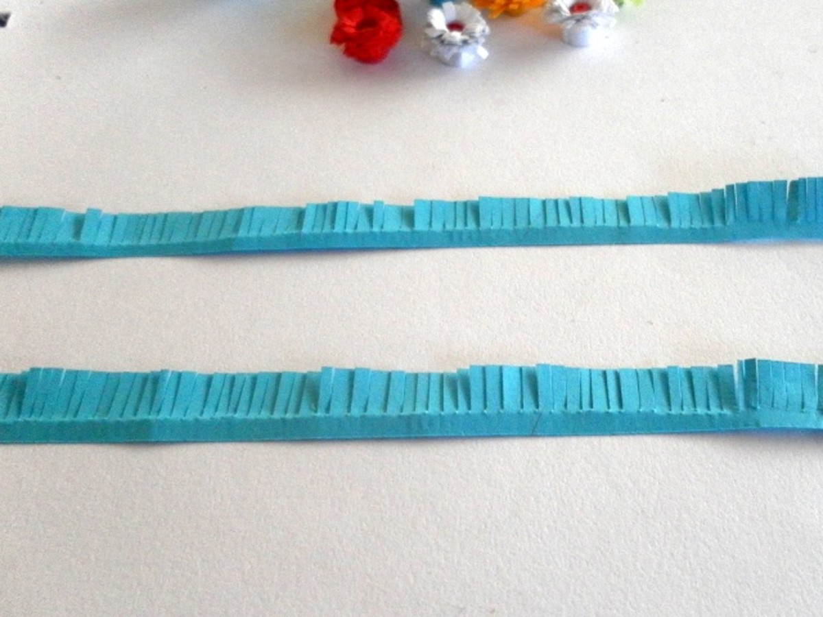 Fringe the paper strips